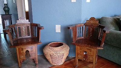 Antique Syrian Moroccan mother of pearl marquetry inlay chairs