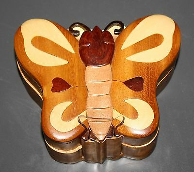 Beautiful 4 Piece Wooden BUTTERFLY Hidden Compartment Trinket Jewelry PUZZLE BOX