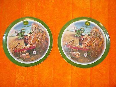 """Two John Deere 8"""" Plastic Plates By Gibson - """"Field day"""""""