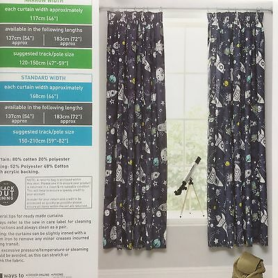 Next boys Space Explorer Glow In The Dark pencil pleat blackout curtains