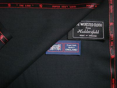 VINTAGE STYLE 100/% WOOL SUITING FABRIC DK NAVY,RIB WEAVE MADE IN ENGLAND 3.5M