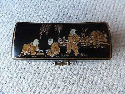 Antique Japanese Lacquered Trinket Box Figures Playing