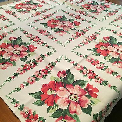 Vtg tablecloth WILENDUR? crisp ivory pink dogwood floral COTTAGE CHIC 44x46""