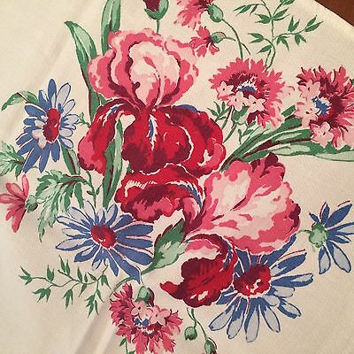 Vtg tablecloth crisp soft white iris daisy pink red blue COTTAGE CHIC 50x49""
