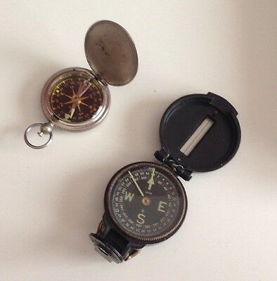 LOT Of 2 ANTIQUE/VINTAGE COMPASSES WITTNAUER & CORP Of ENGINEERING