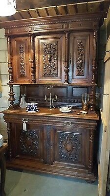 Solid Oak Antique French Buffet Carved Dresser