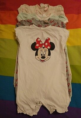 baby girls minnie mouse pyjamas romper suits