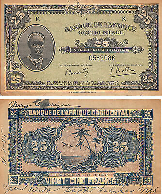 West African  L'africaque Occidentale 25 Francs Banknote,p#30,1942,#0582086