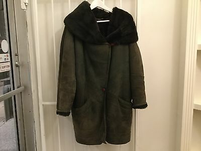 Vintage 80s women's Shearling coat green LINEA PELLE jacket sheepskin fur M/L