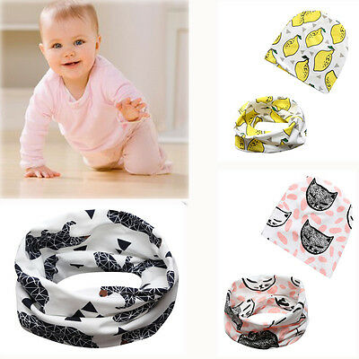 Cute Baby Toddler Elastic Slouch Beanie Hat and Scarf Sets Cartoon Pattern Cap
