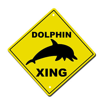 Dolphin Crossing  Metal Aluminum Novelty Sign 12 in x 12 in