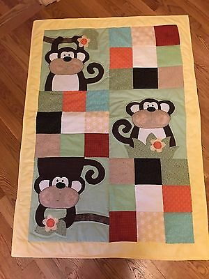 New Handmade Baby Girl Boy Quilt Crib Blanket Appliqued Monkeys Patchwork