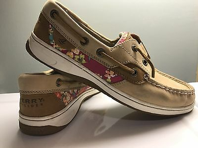 Women's Sperry Rainbow Fish Tan Leather slip on shoes, Size 6.5M
