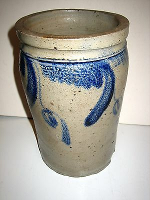 "ANTIQUE STONEWARE CROCK - FLORAL COBALT DECORATED - 8 3/4"" high"