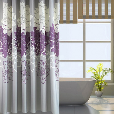 Fabric Shower Curtain Bathroom Extra Long Waterproof Polyester With 12 Hooks