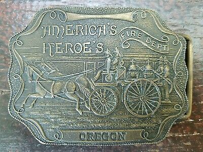 "Vintage Brass BELT BUCKLE Nevada Fire Dept. ""America's Heroe's"" By Tiffany & Co"