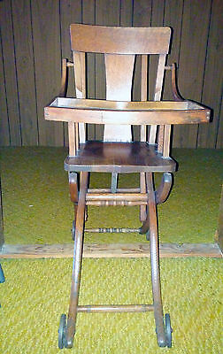 Antique Child High Chair Oak Wood Converts To Walker Stroller