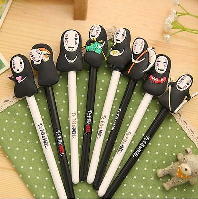 8x Spirited Away Cute Cartoon No Face Faceless Black Gel Ink Ballpoint Pen Gift