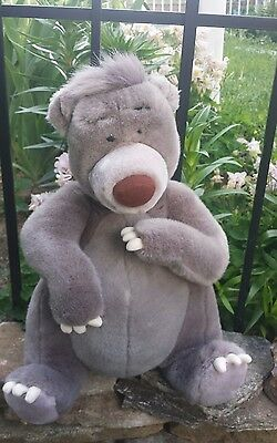 "DISNEY 15"" Plush JUNGLE BOOK Sitting BALOO BEAR Brown Large Stuffed Animal Toy"
