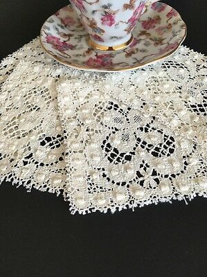 Set Of Four Vintage Antique White Cotton Filet Lace Pieces With Butterflies