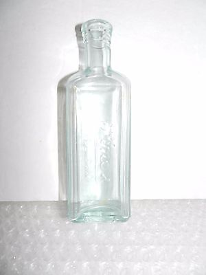 pINEX ANTIQUE APOTHECARY BOTTLE CLEAR AQUA TINTED GLASS EMBOSSED NAME MEDICAL