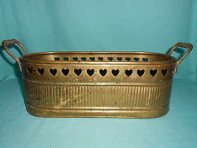 Vintage SOLID BRASS LARGE LONG PLANTER WITH HANDLES