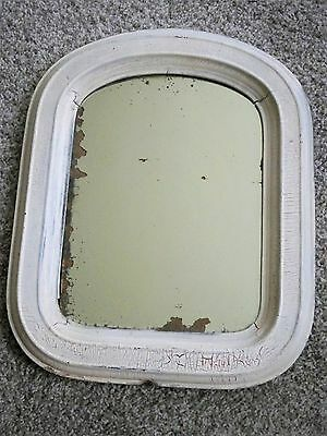 Antique MIRROR ~OLD Chippy White Shabby FARMHOUSE  Ghosting PATINA Mercury Glass