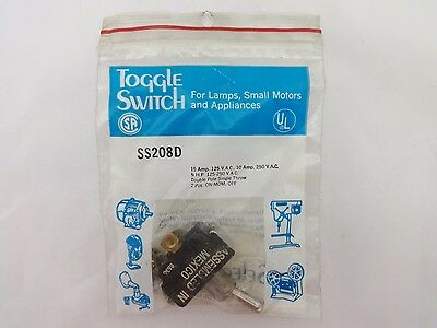 Selecta Switch SS208D 10/15 AMP 125/250 VAC DPST ON-MOM. OFF Toggle Switch