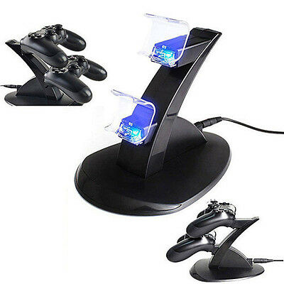 LED Dual Charger Wireless Controller Dock USB Charging Cable Stand For PS4
