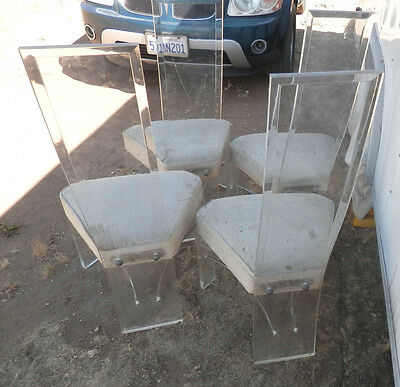 Set of 4 Mid Cent. Moderne Lucite chairs by Hill Mfg. company USA Beveled backs