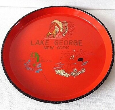 "Vintage Rare ""Lake George New York"" Serving Tray Indian Water Ski Fish Cottage"