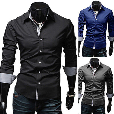 Mens Stylish Slim Fit Long Sleeve Dress Shirt Casual Tops Business Shirts Worthy