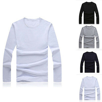 Mens Slim Long Sleeve Shirt Solid T-shirt Tee Shirt Casual Round Neck Top Worthy