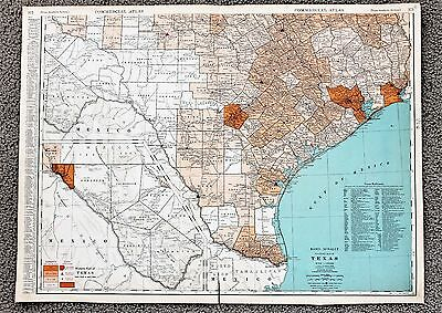 1935 Southern Texas Railroad Map Large Double Page RR List Routes ORIGINAL