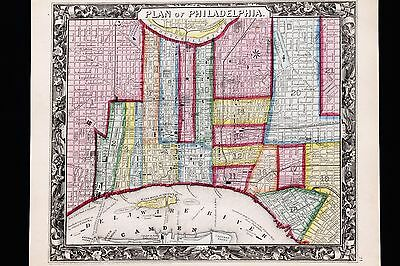 1860 Philadelphia Plan Map Downtown Wards Hand-colored Augustus Mitchell EX-RARE