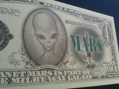 Mars money   4 dollars  funny money/educational  free post !