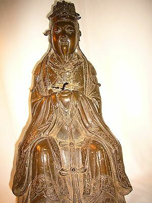"""Fine Antique Wenchang Chinese Bronze Marked Statuette, Engravings, 8""""x6x6."""