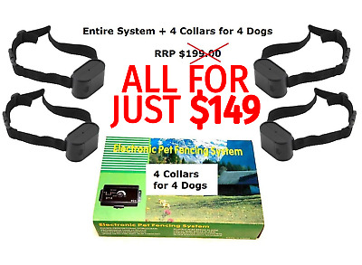 Pet Dog Fence Set (023) 4 Dog Set - Outdoor Fencing Containment System Hidden