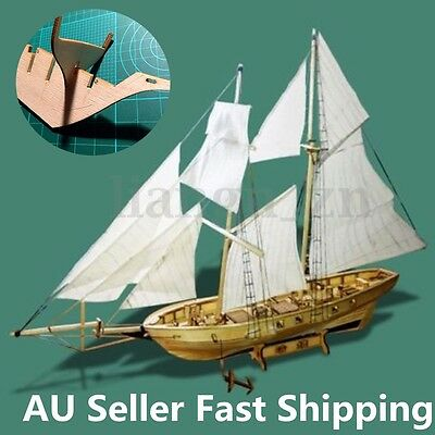 DIY Scale 1:130 Wooden Small Sailboat Ship Kit Home Model Decoration Boat Gift