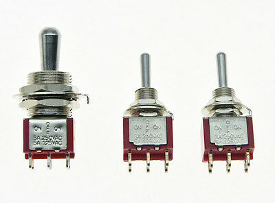 Guitar Fat Bat Toggle Switch DPDT 3 Way ON OFF ON with 2 Mini Toggle Switches