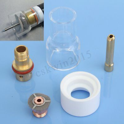 """5PCS TIG Welding Torch Pyrex Cup Gas Saver Kit 2.4mm 3/32"""" Collet For WP17 18 26"""