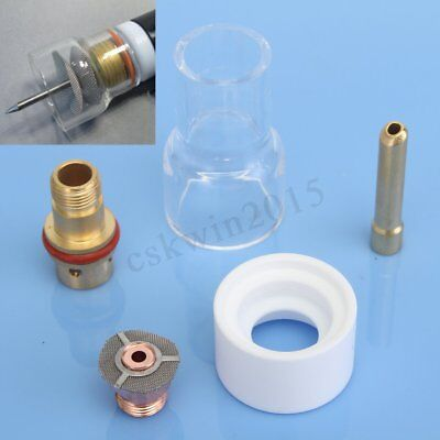 "5PCS Welding Pyrex TIG Torch Lens Cup Gas 2.4mm 3/32"" Collet Kit  For WP17 18 26"