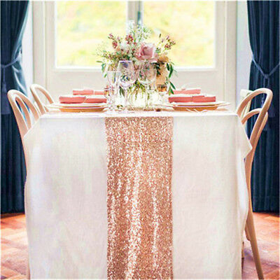 """Best Price 10pcs Rose Gold 14""""*108"""" Sequin Table Runner-Party/Wedding/Banquet"""