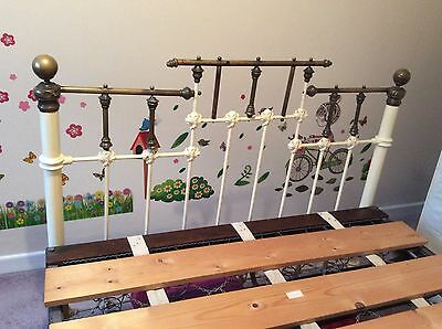 victorian brass double bed with original Box springs and nearly new mattress