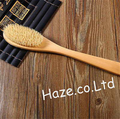 Body Brush for Dry Skin Brushing Natural Boar Bristles With Long Handle Wooden