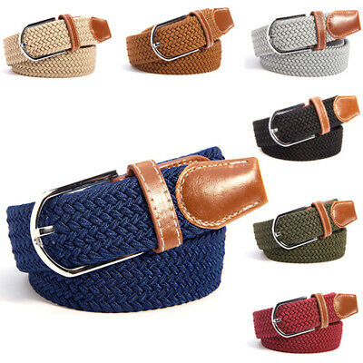 AU Unisex Canvas Woven Leather Pin Buckle Elastic Waist Belt Men Women Waistband