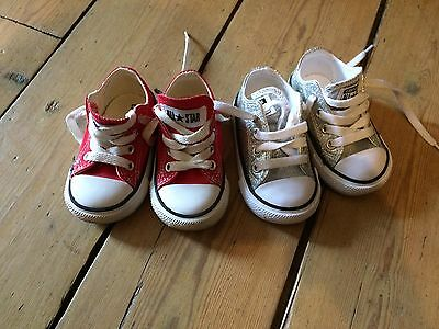 Two Pairs of baby converse size 4