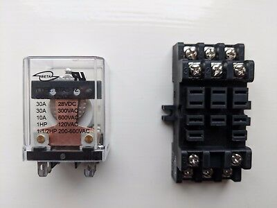 30A SPDT Power Relay 12v 12 volts DC plus Relay Socket 30A 11Pin DIN