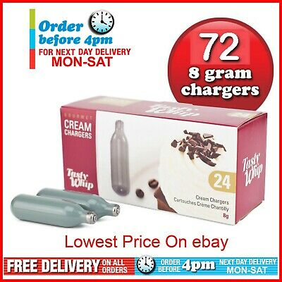 72 Cream Chargers Tasty Whip Whipped 8G Nitrous Oxide N2O NOZ NOS