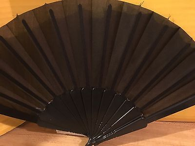 Folding  Hand fan Floral Design Black Fabric New With Tags